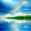 Photo : Rainbow under colors waterfall