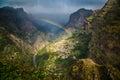 Rainbow above mountain village Royalty Free Stock Photo