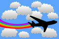 Rainbow airplane Royalty Free Stock Photography