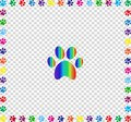 Rainbow animal paw print framed with multicolored paw prints  bo Royalty Free Stock Photo