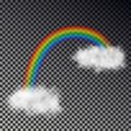 Rainbow arc with white clouds isolated on checkered background. Transparent magic rainbow decoration