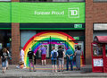 Rainbow around td bank atms toronto canada june decoration the atm s for a branch in celebration of the world pride festival Royalty Free Stock Photography