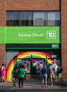 Rainbow around td bank atms toronto canada june decoration the atm s for a branch in celebration of the world pride festival Royalty Free Stock Image