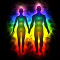 Rainbow aura of woman and man Royalty Free Stock Photo