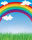 Rainbow background a abstract with clouds and grass Royalty Free Stock Photos