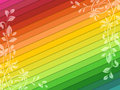 Rainbow background with floral decorations vector Stock Photo