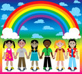 Rainbow Background with Kids Stock Images