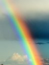 Rainbow after bad weather and rain enjoys a Royalty Free Stock Photography