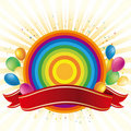 Rainbow and balloon celebration Royalty Free Stock Images