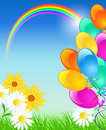 Rainbow balloons and blue sky meadow flowers Stock Photo