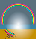 Rainbow and beach chair Royalty Free Stock Image