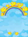 Rainbow bird illustration of birds on sky with and clouds Stock Photo