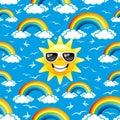 Rainbow, birds and sun