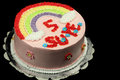 Rainbow birthday cake fresh cream decorated with design Royalty Free Stock Photography