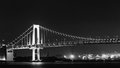 Rainbow bridge black and white of at night Stock Image