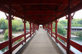 Rainbow bridge the covered in village xicun wuyuan china Royalty Free Stock Photo