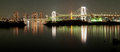 Rainbow Bridge in Tokyo at night Royalty Free Stock Photo