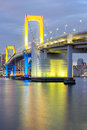 Rainbow bridge tokyo from odaiba at dusk in japan Stock Photos