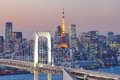 Rainbow bridge and tokyo tower bay at Stock Image