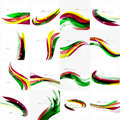 Rainbow bright light air lines background green and yellow colors Royalty Free Stock Photo