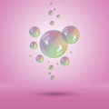 Rainbow bubbles multicolor soap bubble vector with transparency Stock Image