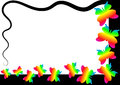 Rainbow butterflies border frame with flying colorful colors can be changed upon request Royalty Free Stock Images