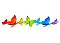 Rainbow butterflies border for Your design 4