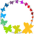 Rainbow butterflies round border frame with flying colorful colors can be changed upon request Royalty Free Stock Photo