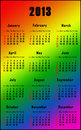 Rainbow calendar for 2013 Royalty Free Stock Image