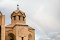 Rainbow and cathedral in armenia tower of saint gregory the illuminator yerevan Royalty Free Stock Photos