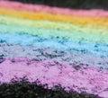 Rainbow chalk on pavement Royalty Free Stock Photo