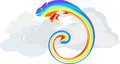Rainbow chameleon in clouds the Stock Images