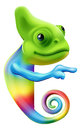 Rainbow chameleon pointing an illustration of a cute cartoon coloured round a sign or banner Stock Photos