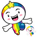 Rainbow character on running dream of fairy character design se series Royalty Free Stock Image
