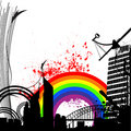 Rainbow city vector Stock Photo