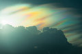 Rainbow cloud on sunset time  with beautiful spectrum sun light Royalty Free Stock Photo