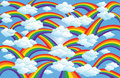 Rainbow & Clouds Art Stock Photos