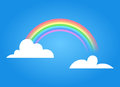 Rainbow with clouds.