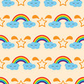 Rainbow, clouds with eyes and smile, silhouette stars. Seamless pattern. Royalty Free Stock Photo