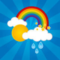Rainbow with clouds and raindrops Royalty Free Stock Images