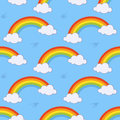 Rainbow and Clouds Seamless Pattern