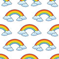 Rainbow & Clouds Seamless Pattern Royalty Free Stock Photo