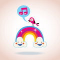 Rainbow clouds and singing bird illustration Royalty Free Stock Photography