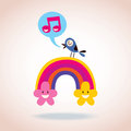 Rainbow clouds and singing bird illustration Stock Photography