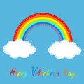 Rainbow and clouds in the sky dash line happy valentines day c card vector illustration Royalty Free Stock Photos
