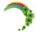 Rainbow and clover on white background st patricks day symbol Royalty Free Stock Photo