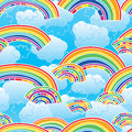 Rainbow coloful sky blue seamless pattern Royalty Free Stock Photo