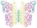 Rainbow color butterfly drawn with spirals and circles Stock Photo