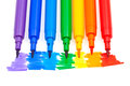 Rainbow color felt pens top view of tips of Royalty Free Stock Photos