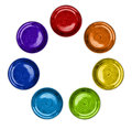 Rainbow Color Plates in Circle Stock Image
